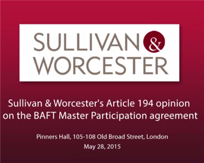 Article 194 opinion on the BAFT Master Participation agreement