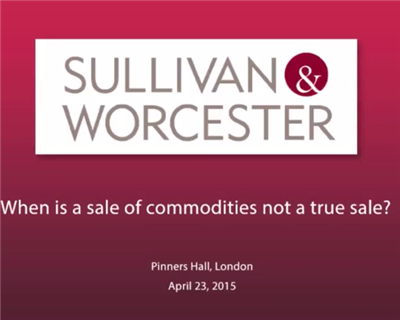 S&W Breakfast Briefing: When is a sale of commodities not a true sale?